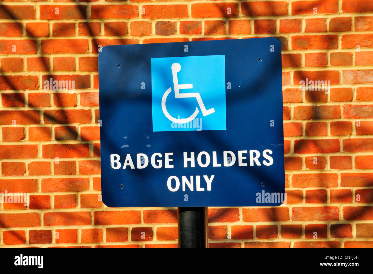 Disabled parking bay sign - Stock Image