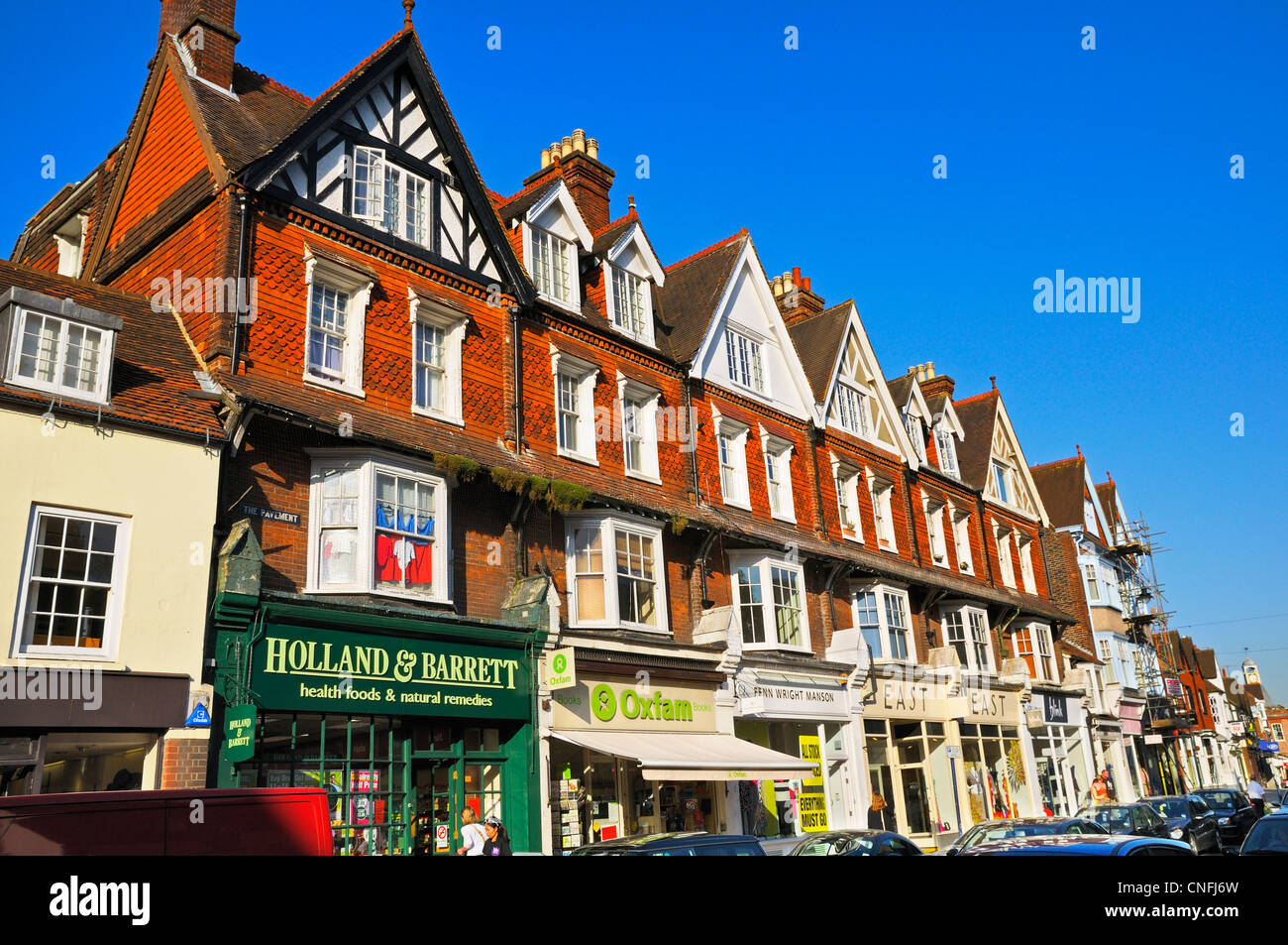 Shops along Reigate High Street, Surrey, England, UK - Stock Image
