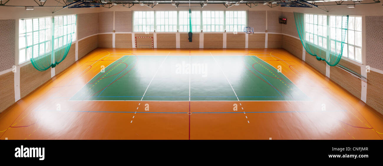 Empty basketball gym at sport court - Stock Image