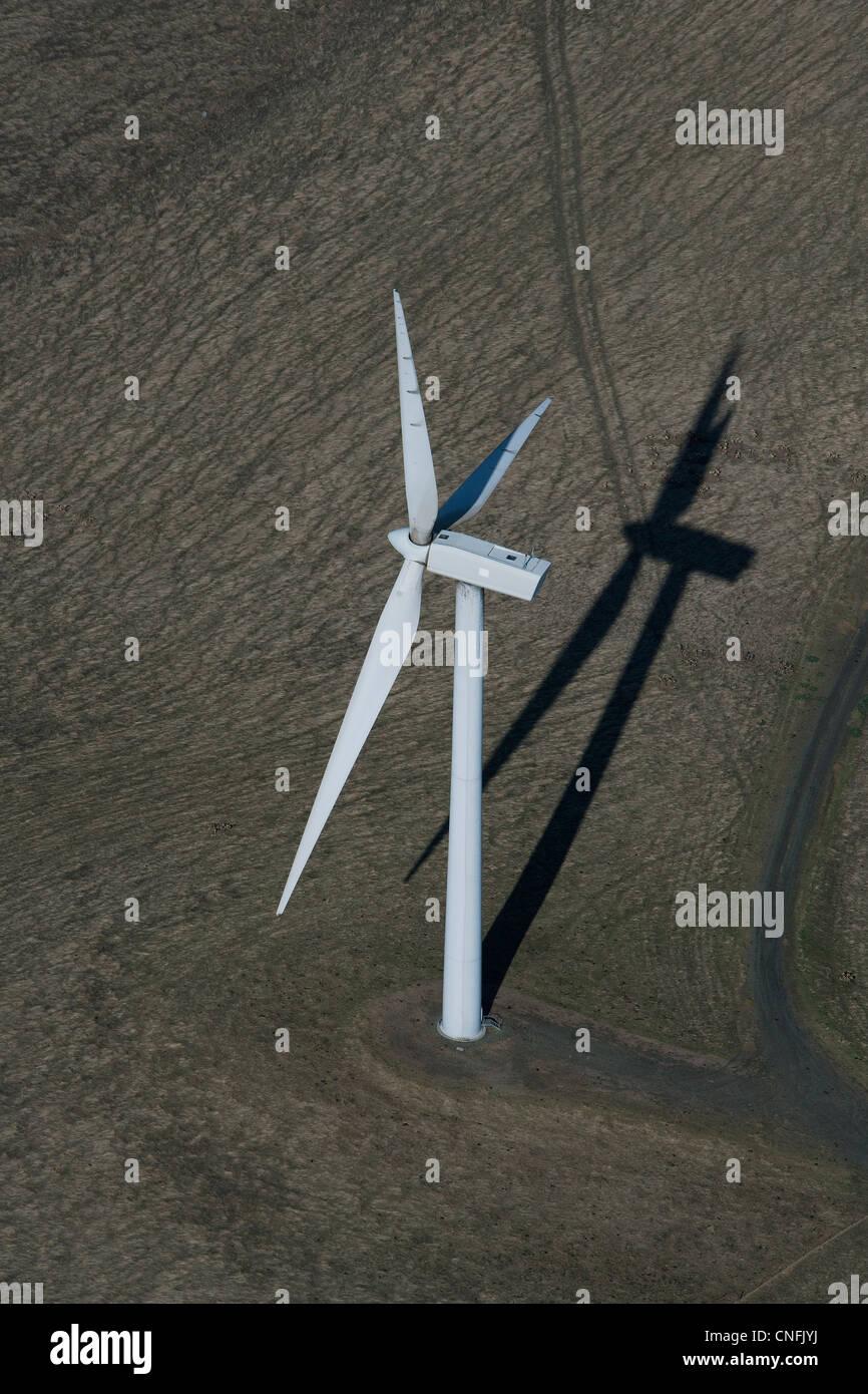 aerial photograph large wind turbine California - Stock Image