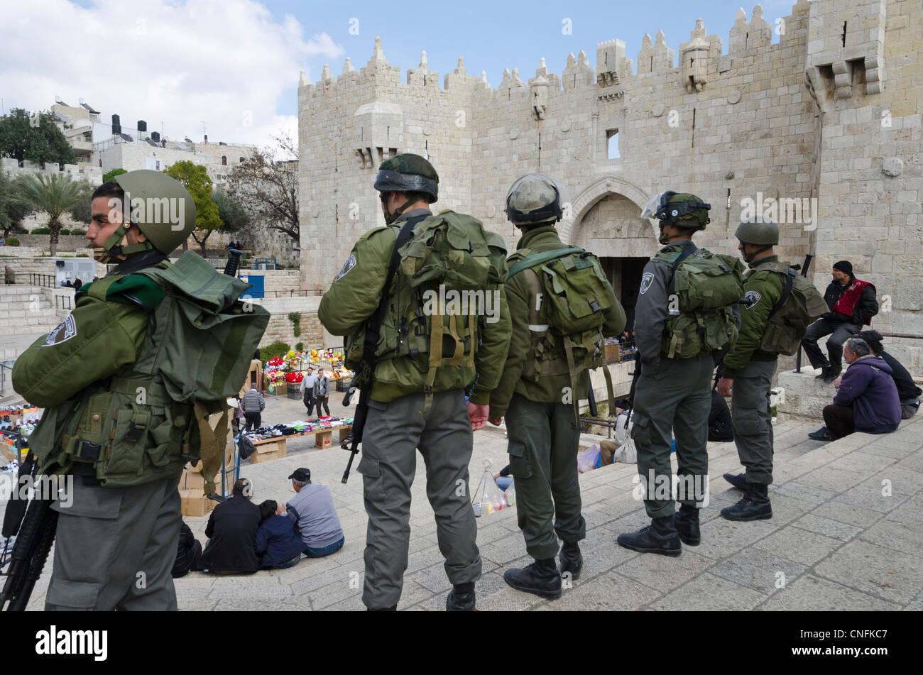 Border patrols at the Damascus gate during Land Day potests. Jerusalem Old City. Israel. - Stock Image