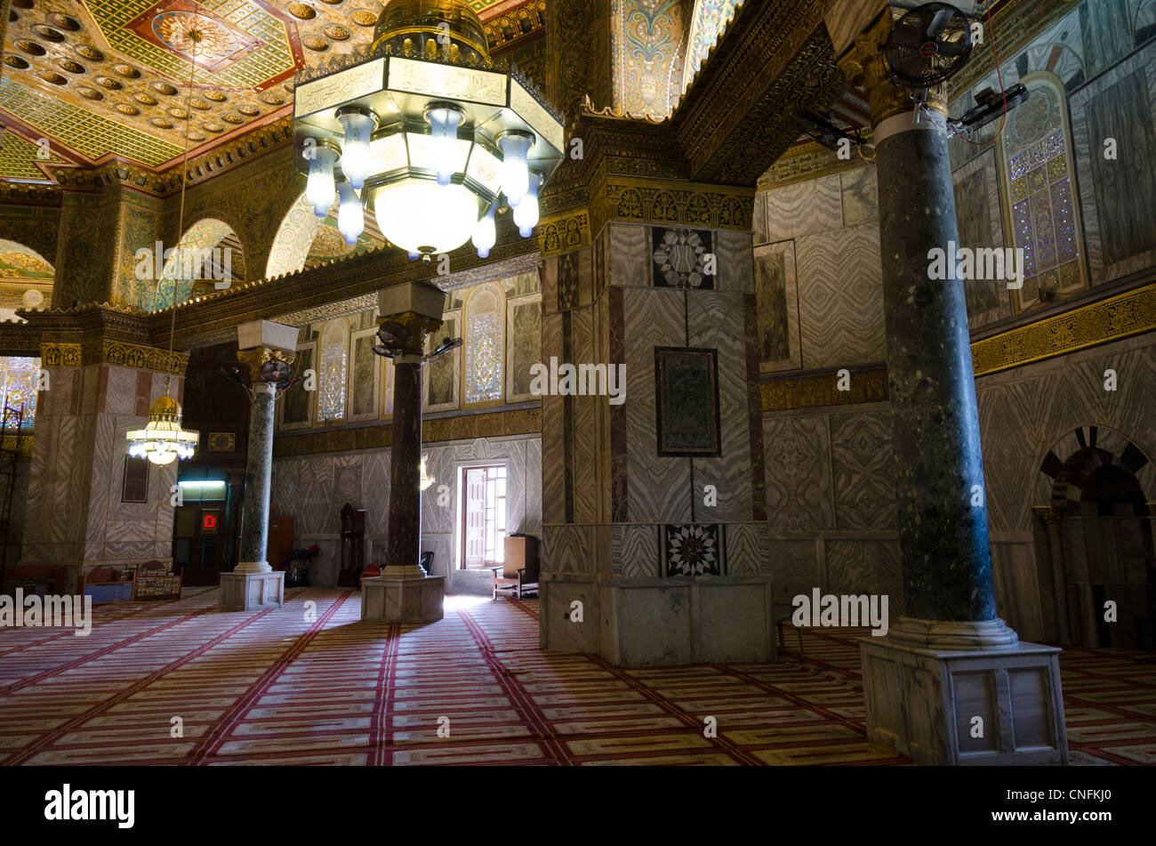 interior of the Al Haram Al Sharif mosque. esplanade of the mosques. Jerusalem Old City. Israel - Stock Image