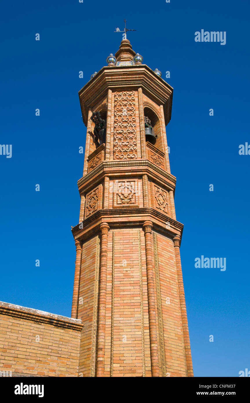 Capilla del Carmen church clock tower detail Triana district Seville Andalusia Spain - Stock Image