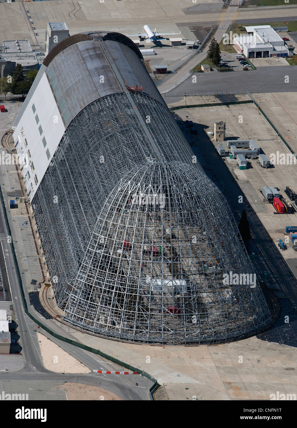 aerial photograph Hangar One, Moffett Field, Mountain View, California Stock Photo