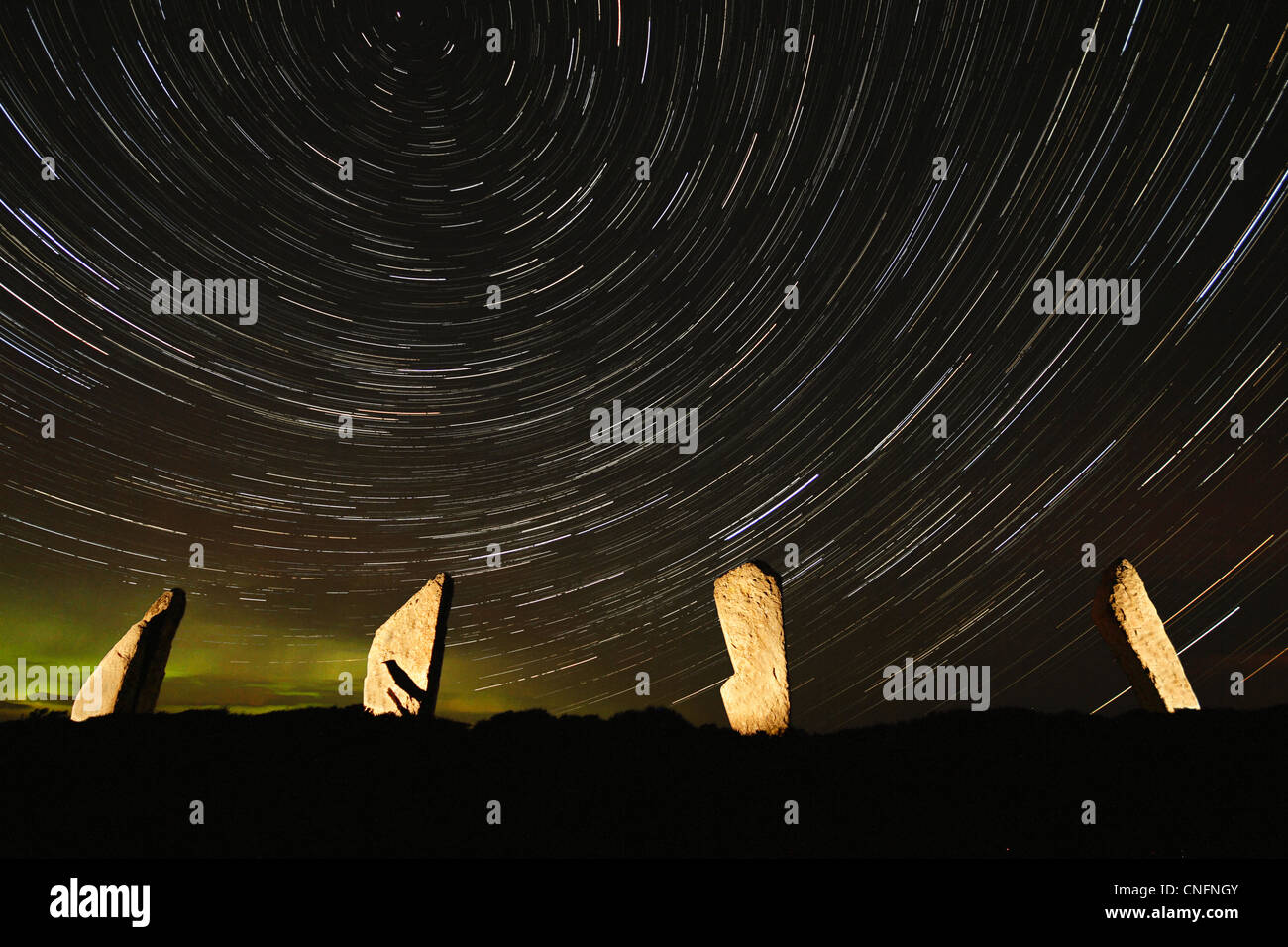Star trails over The Ring of Brodgar - Stock Image