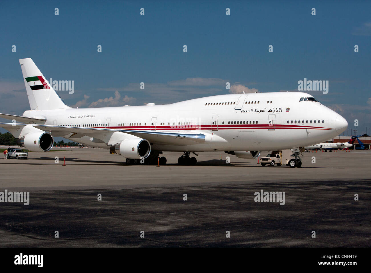 Boeing 747 of Sheik Mohammed Al Maktoum Blue Grass Airport, LEX, Lexington, Kentucky - Stock Image