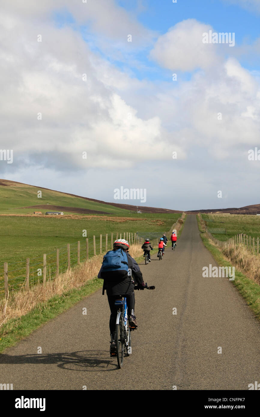 Family cycling - Stock Image