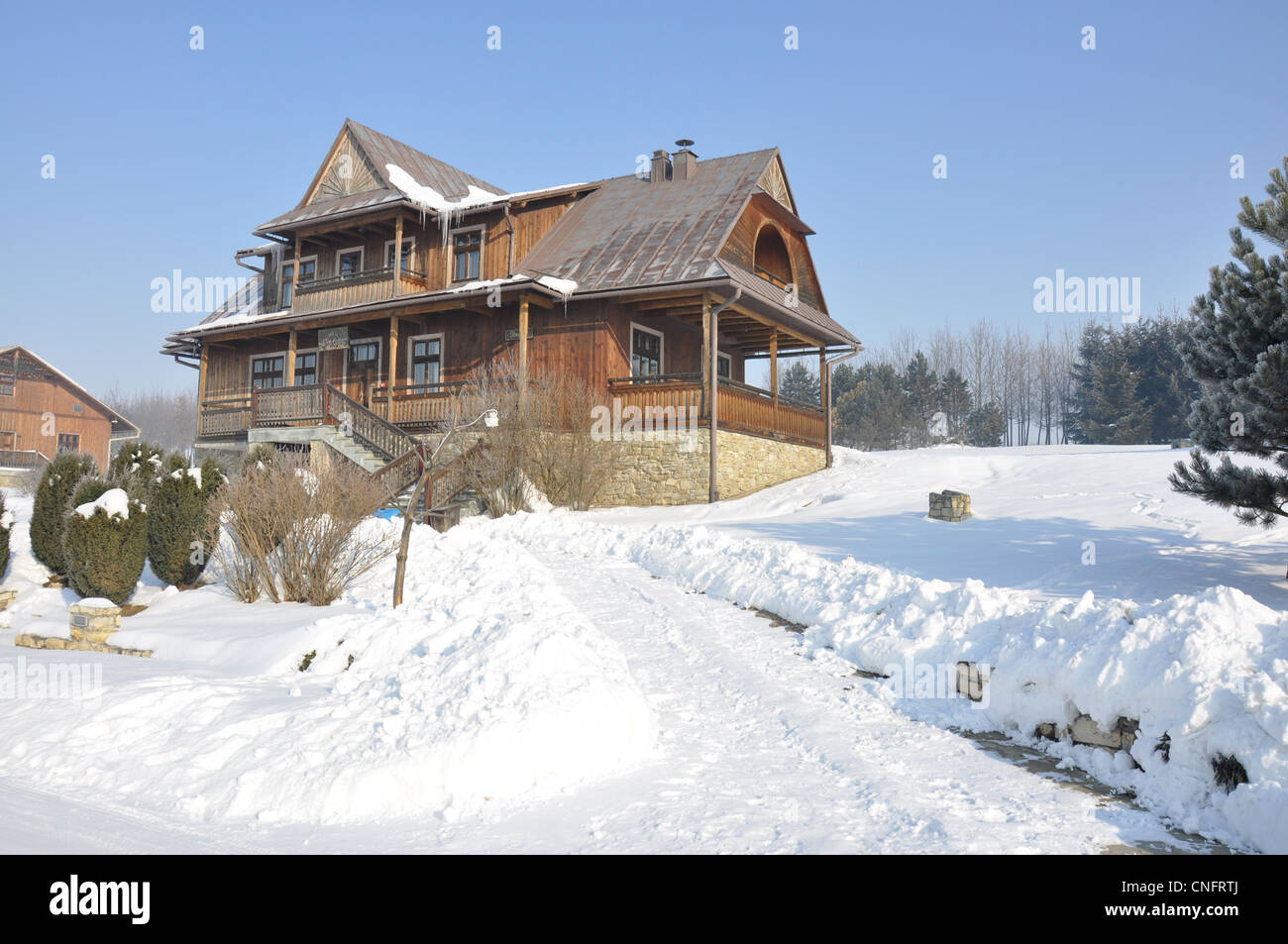 Pieniny Mountains, Karpaty, Poland in winter - house - Stock Image