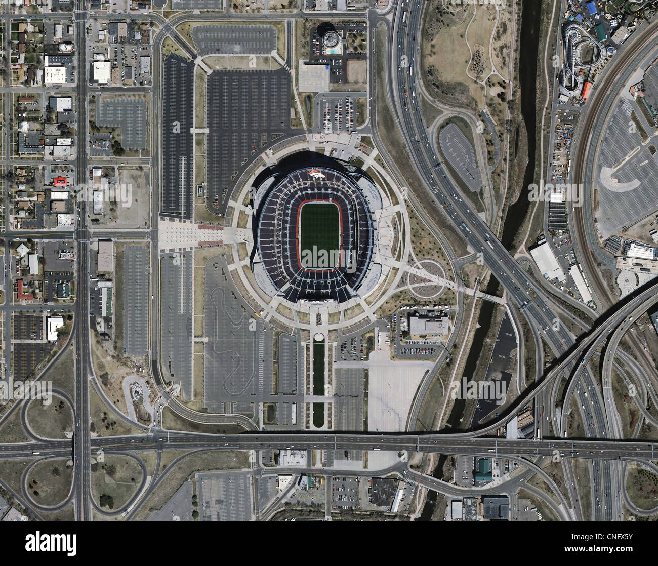 aerial photo map of freeway access to Denver Sports Authority Mile High stadium Colorado - Stock Image