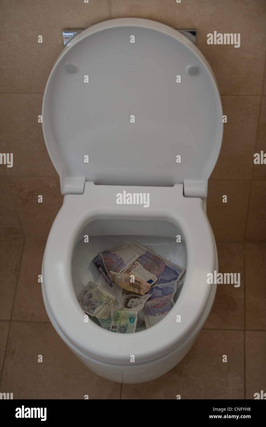 Money going down the toilet with regard to financial crisis and world economy - Stock Image