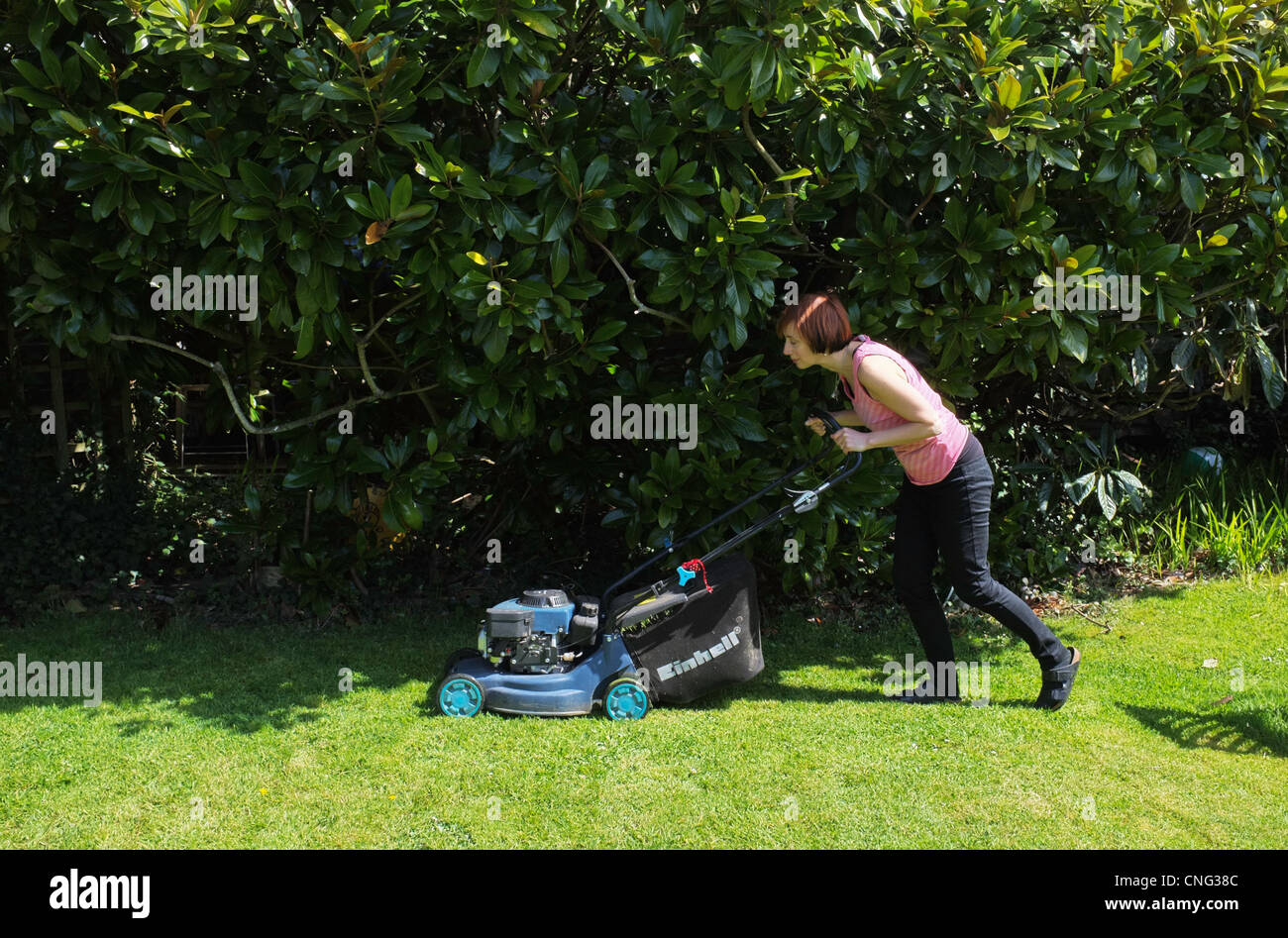 A woman in her mid-forties mowing her front lawn in Cornwall, UK - Stock Image