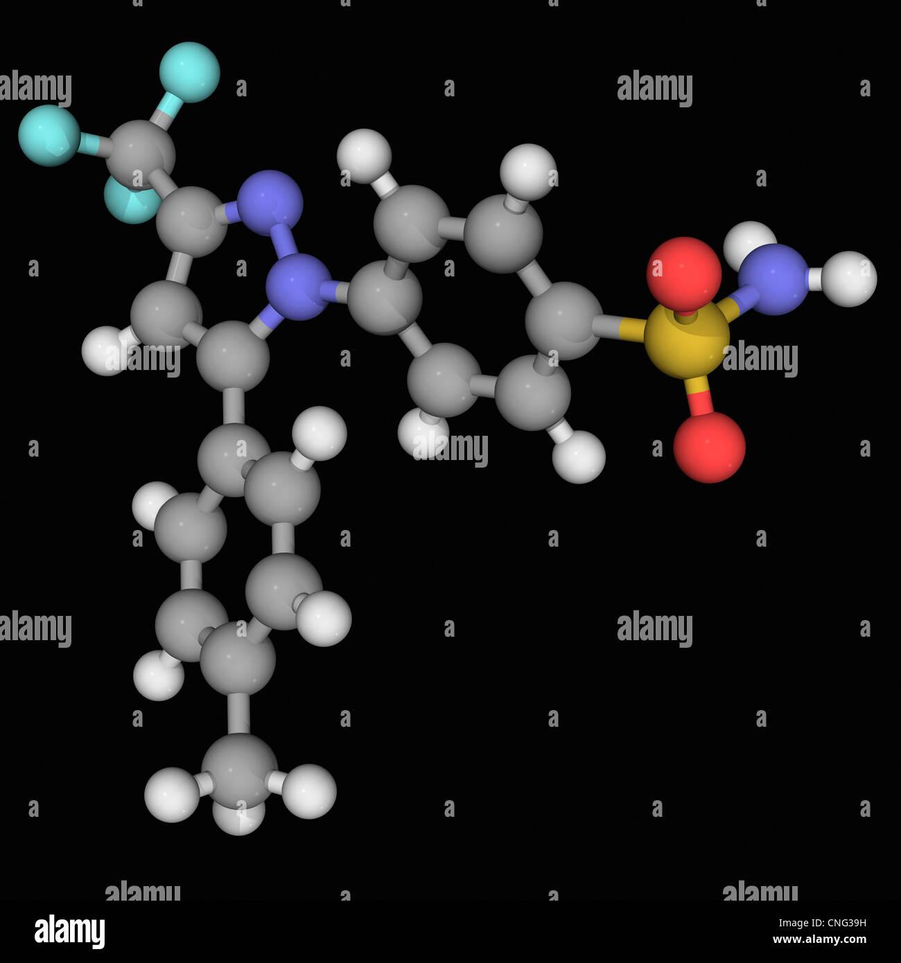 Celecoxib drug molecule - Stock Image