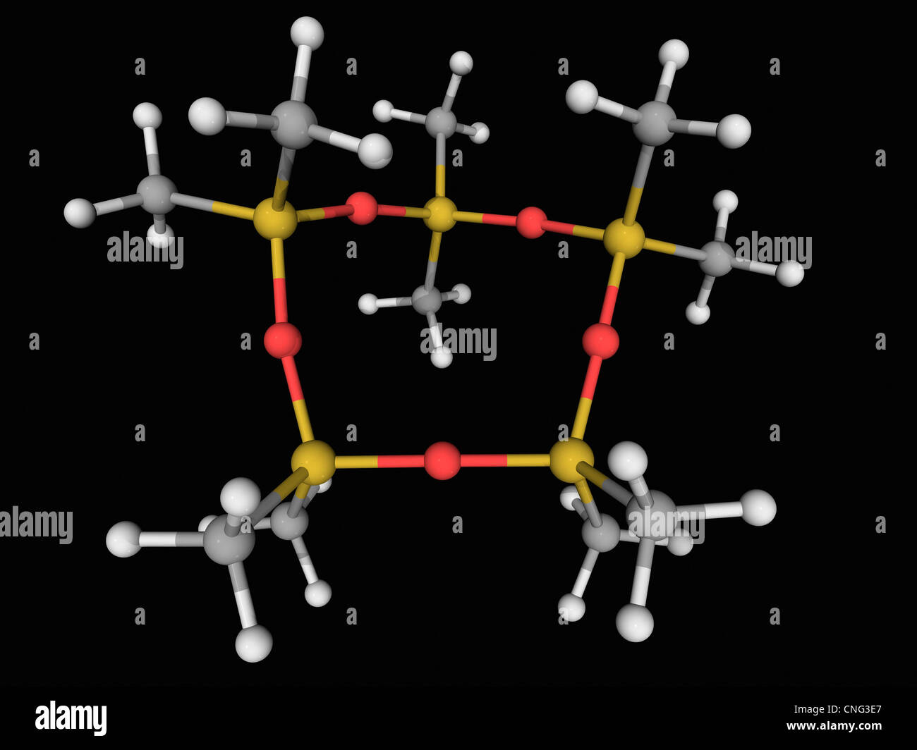 Decamethylcyclopentasiloxane molecule - Stock Image