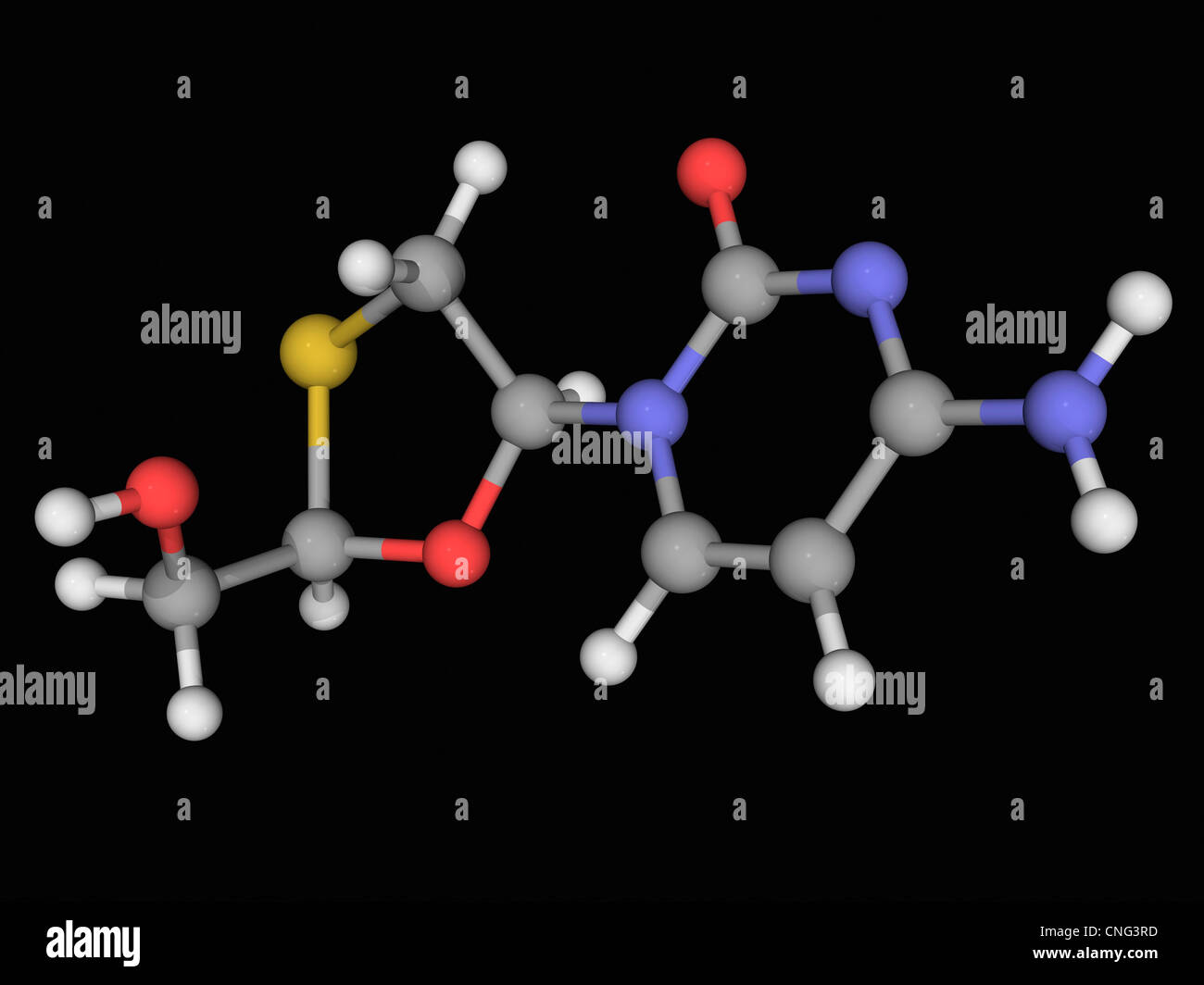 Lamivudine drug molecule - Stock Image