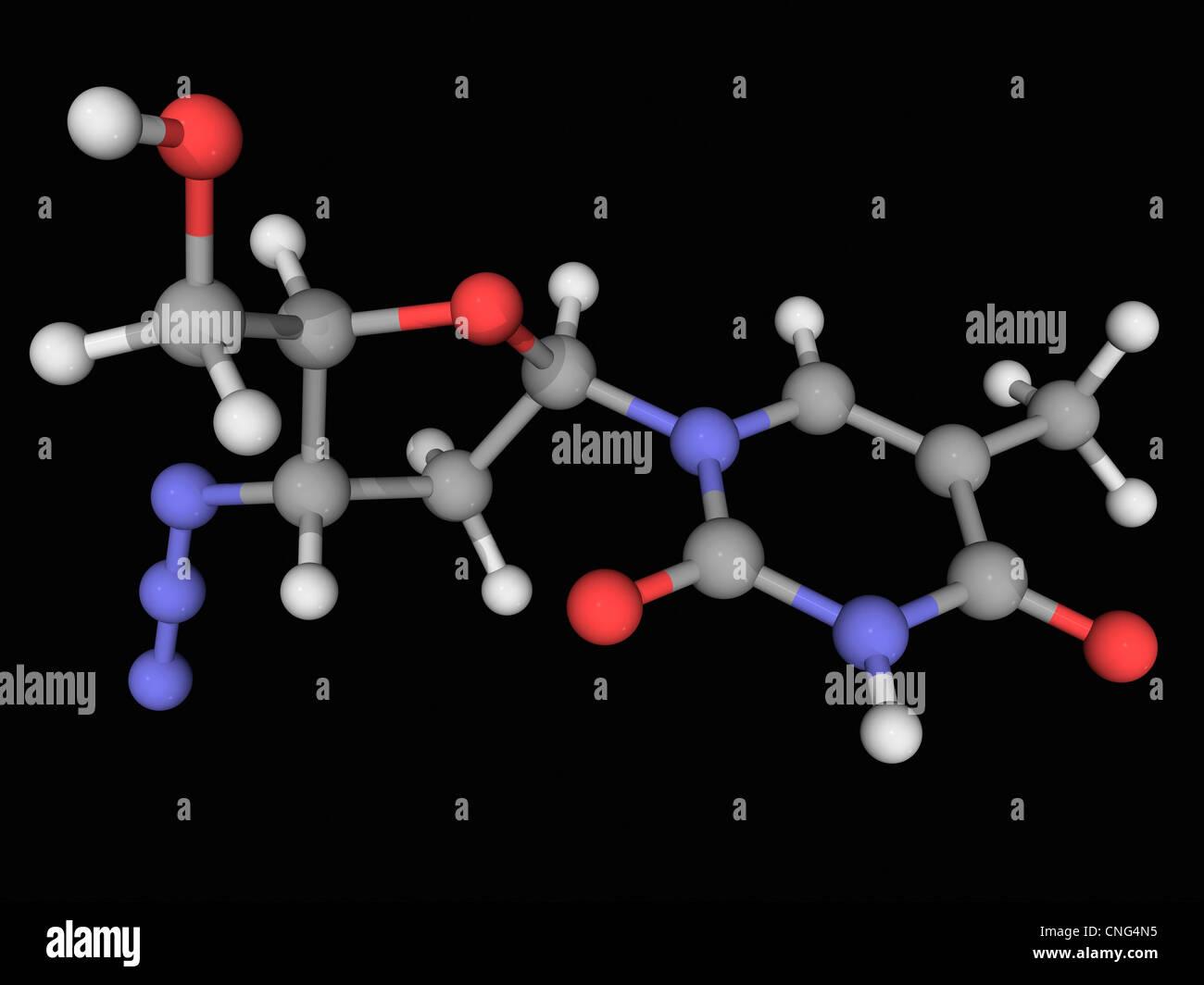 Zidovudine drug molecule - Stock Image