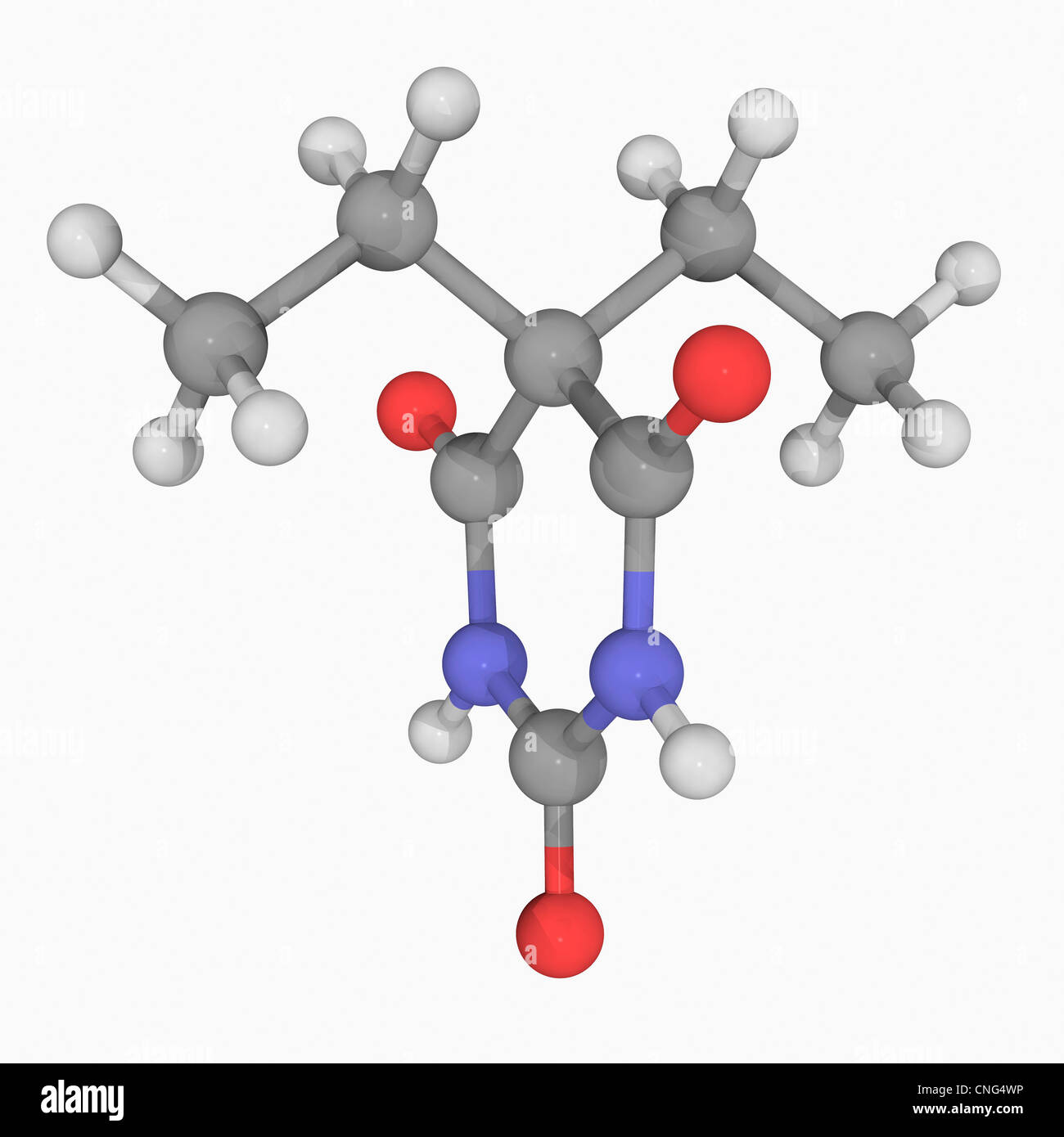 Barbital drug molecule - Stock Image