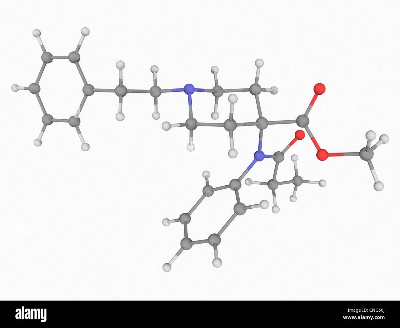Carfentanil drug molecule - Stock Image