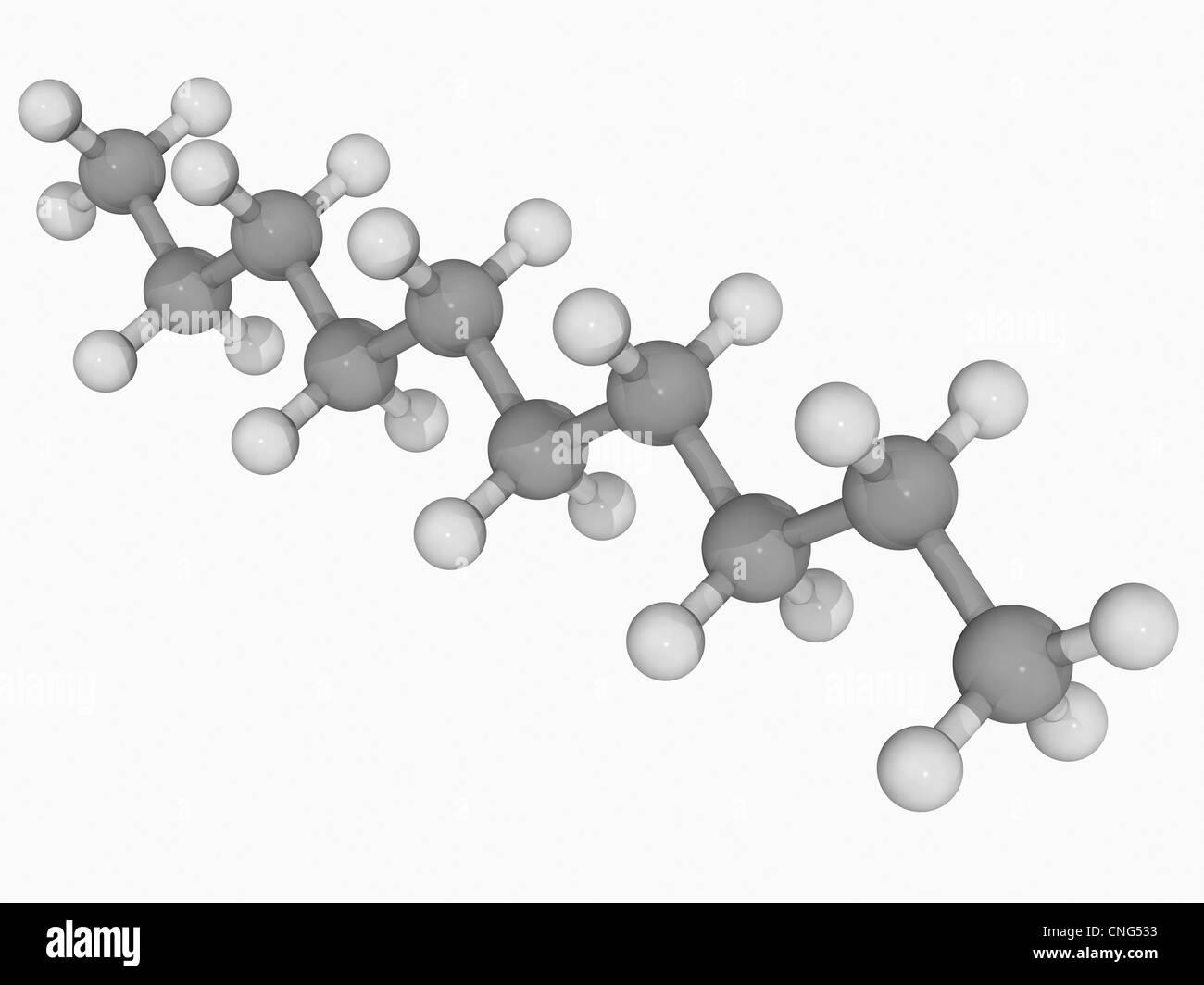 Decane molecule - Stock Image