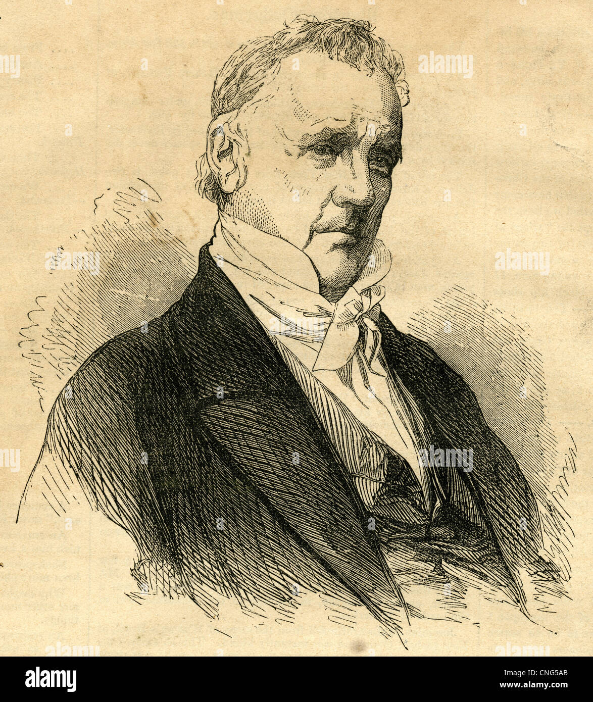 1854 engraving, James Buchanan. James Buchanan, Jr. (1791 – 1868) was the 15th President of the United States (1857–1861). - Stock Image
