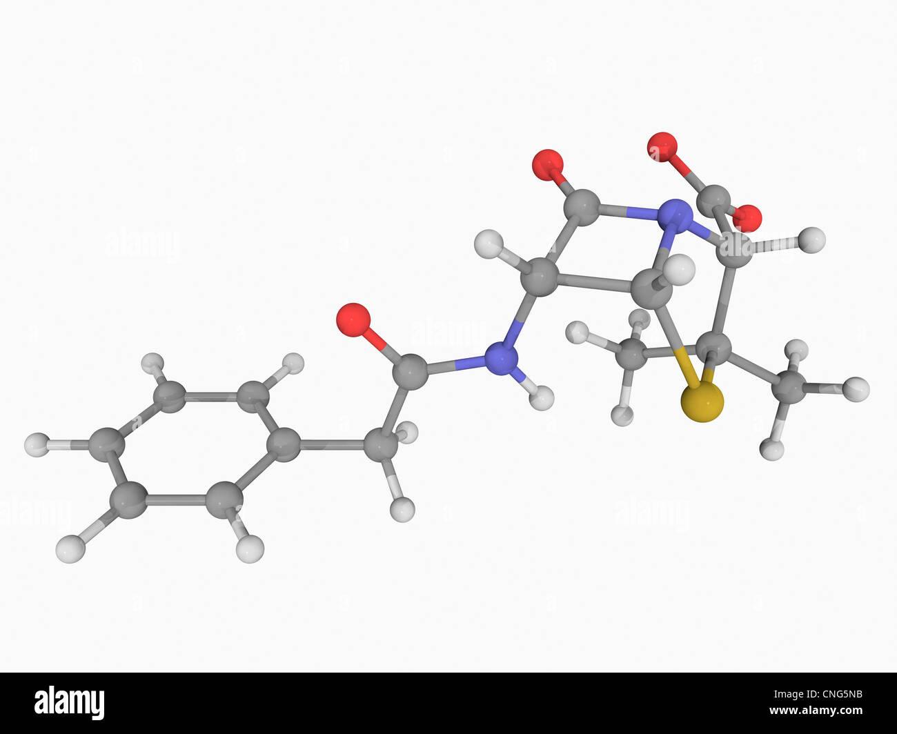 Penicillin G drug molecule - Stock Image