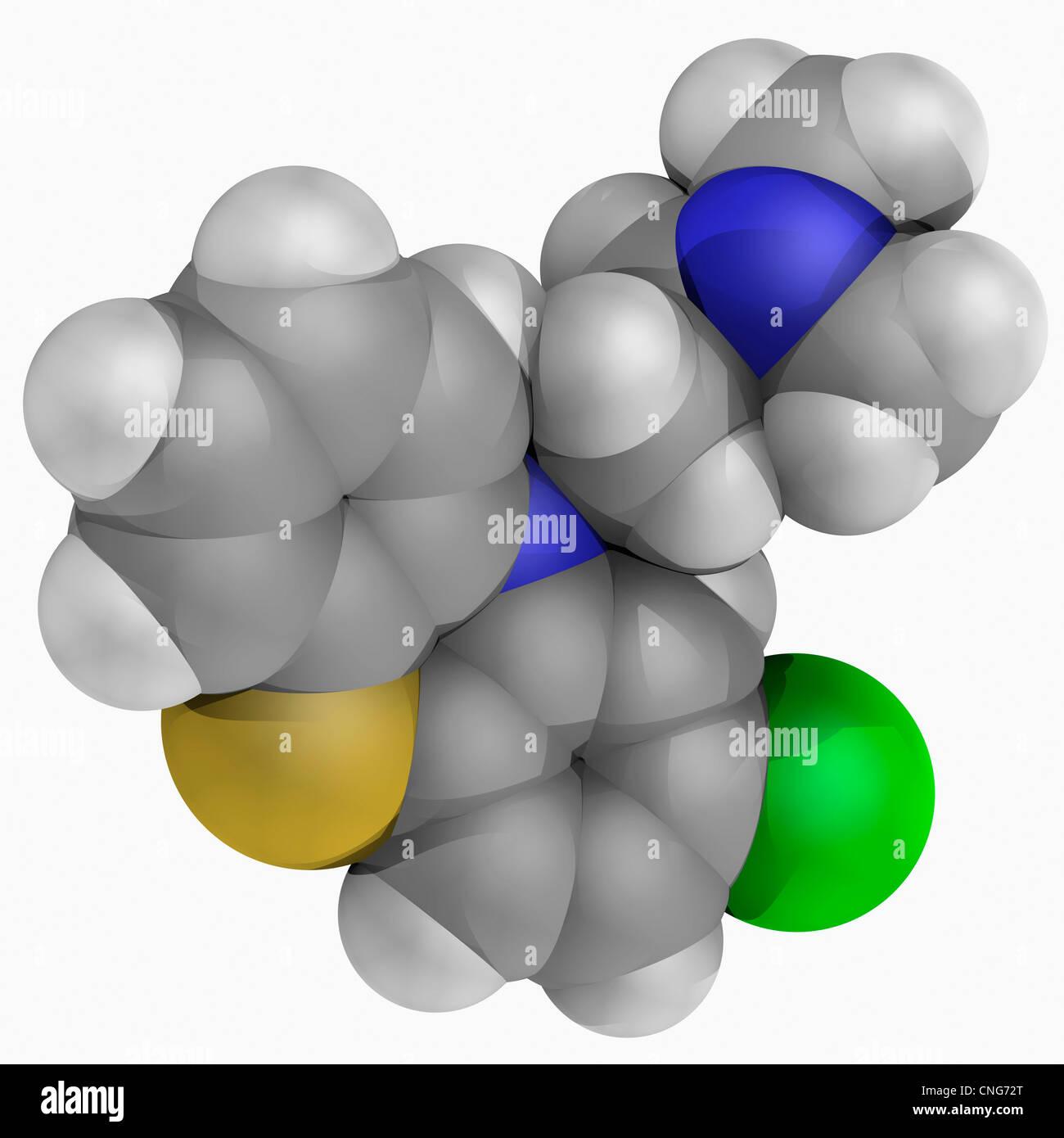 Chlorpromazine drug molecule - Stock Image