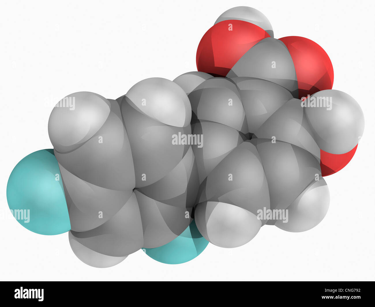 Diflunisal drug molecule - Stock Image
