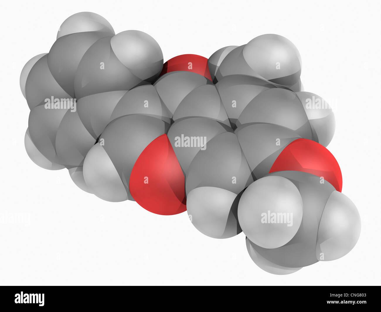 Methoxyisoflavone molecule - Stock Image