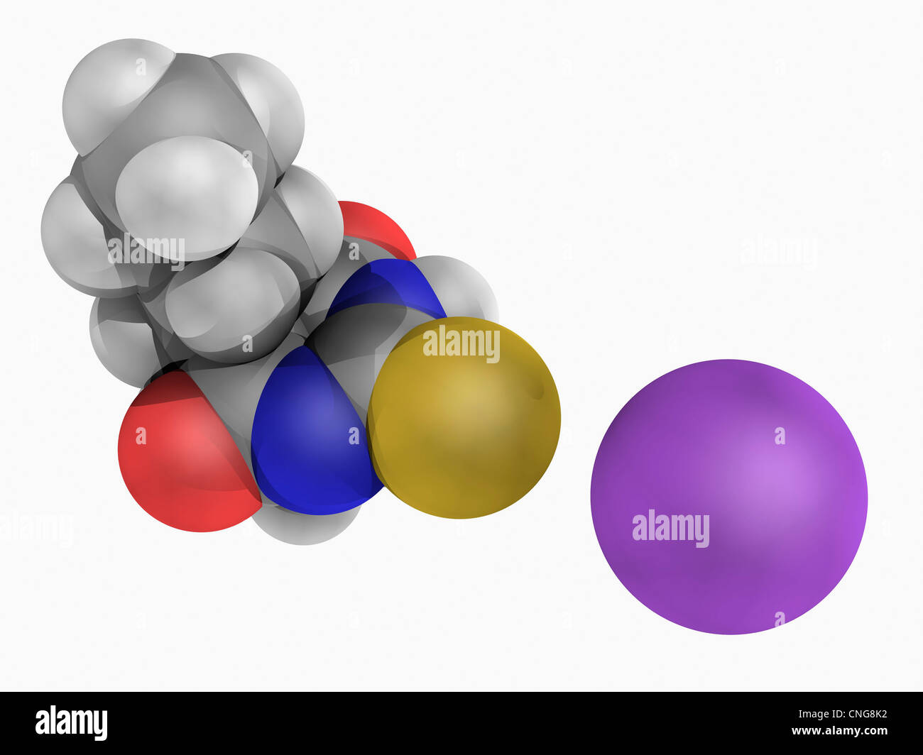 Sodium thiopental drug molecule - Stock Image