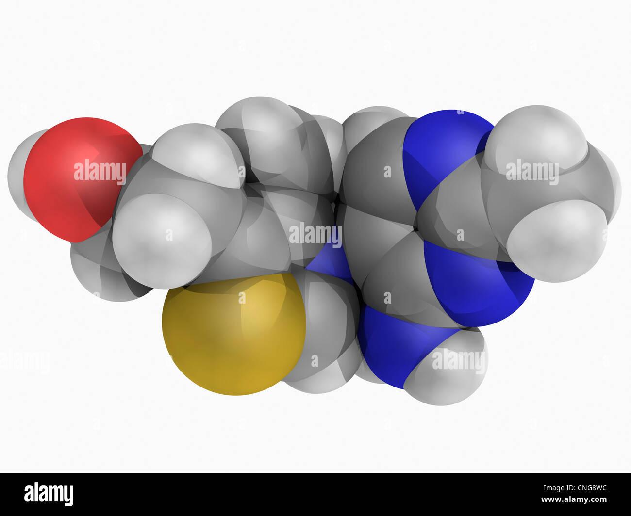Vitamin B1 (thiamine) molecule Stock Photo