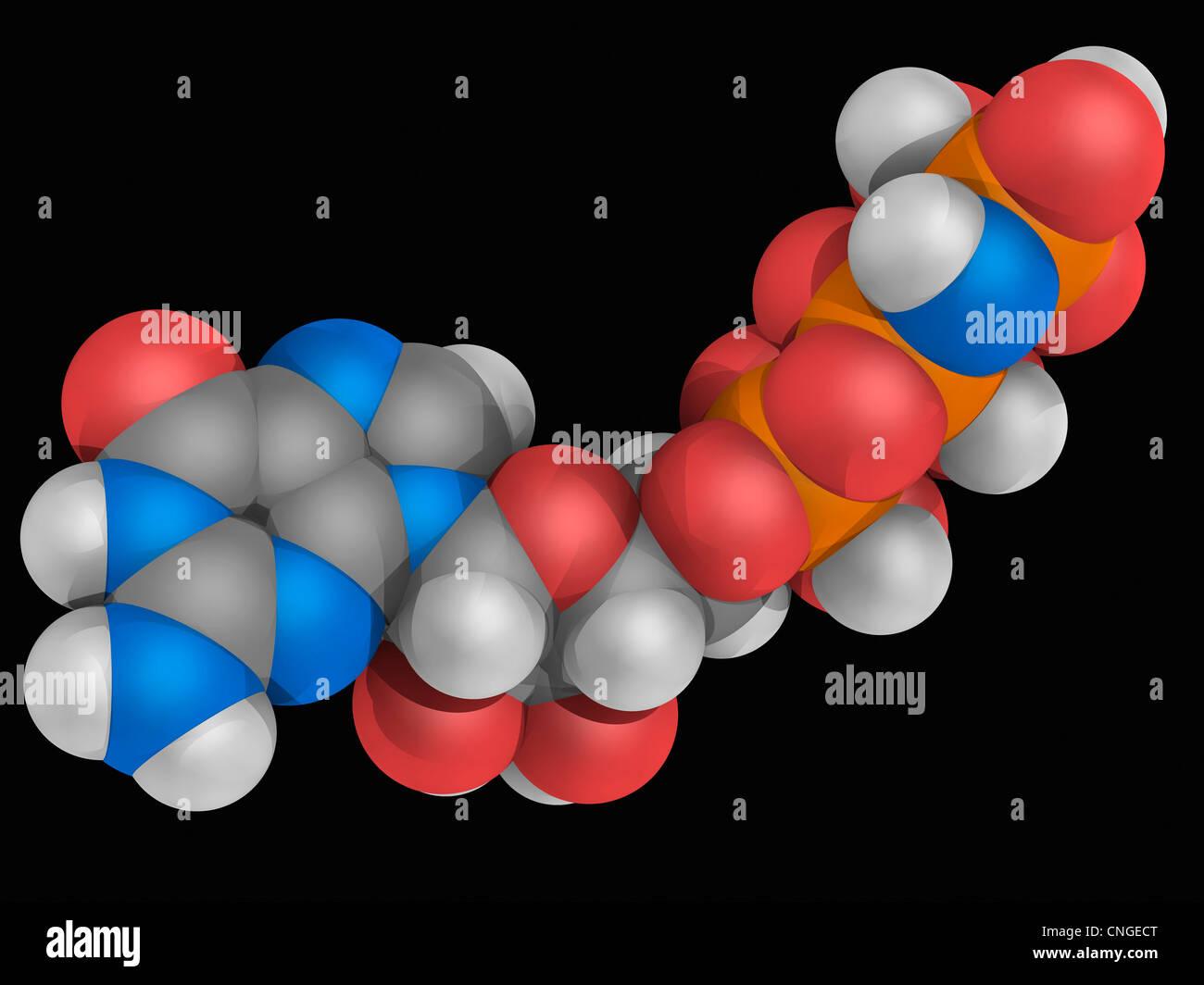 Guanylil imidodiphosphate molecule - Stock Image