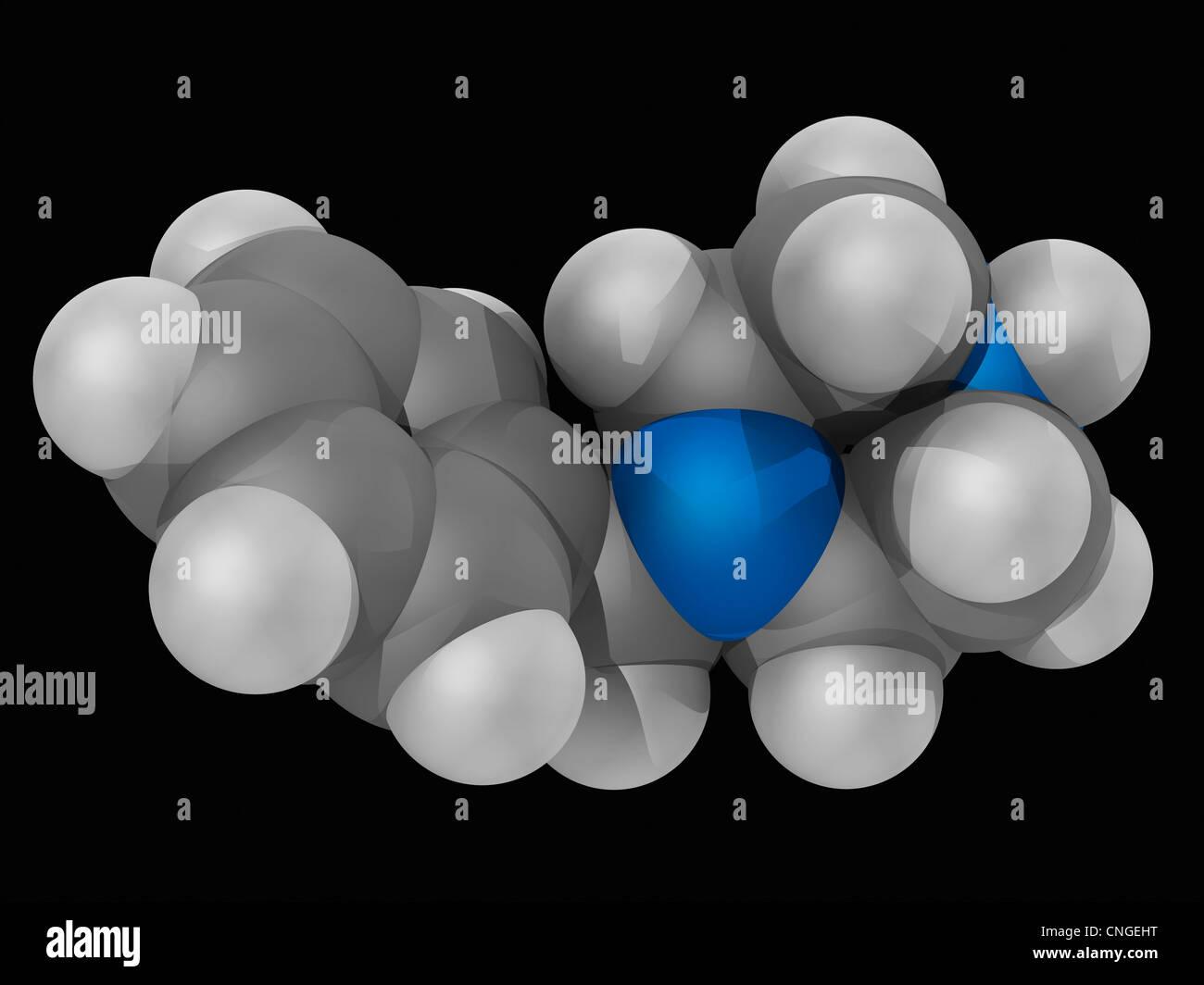 Benzylpiperazine (BZB) drug molecule - Stock Image