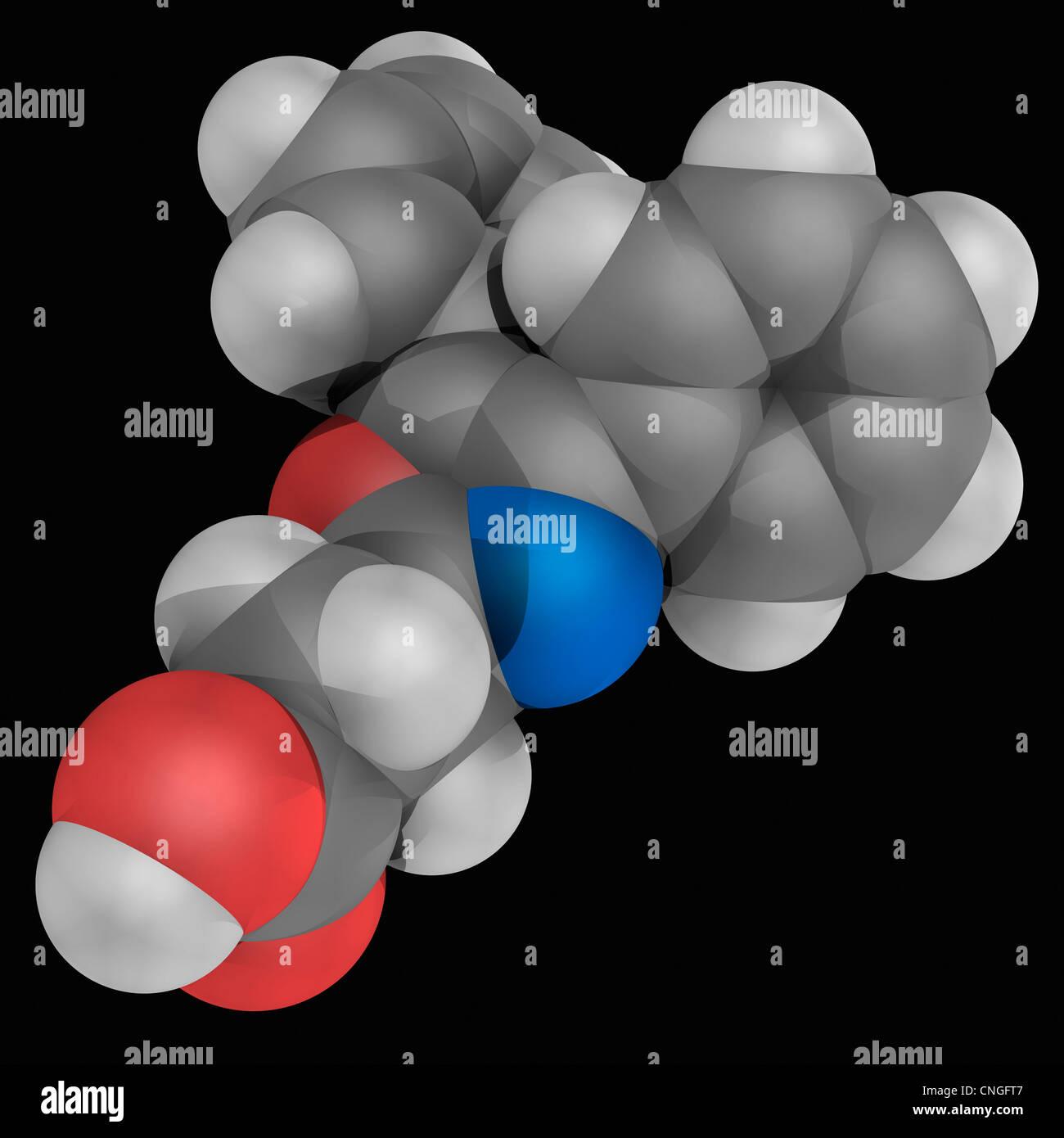 Oxaprozin drug molecule - Stock Image