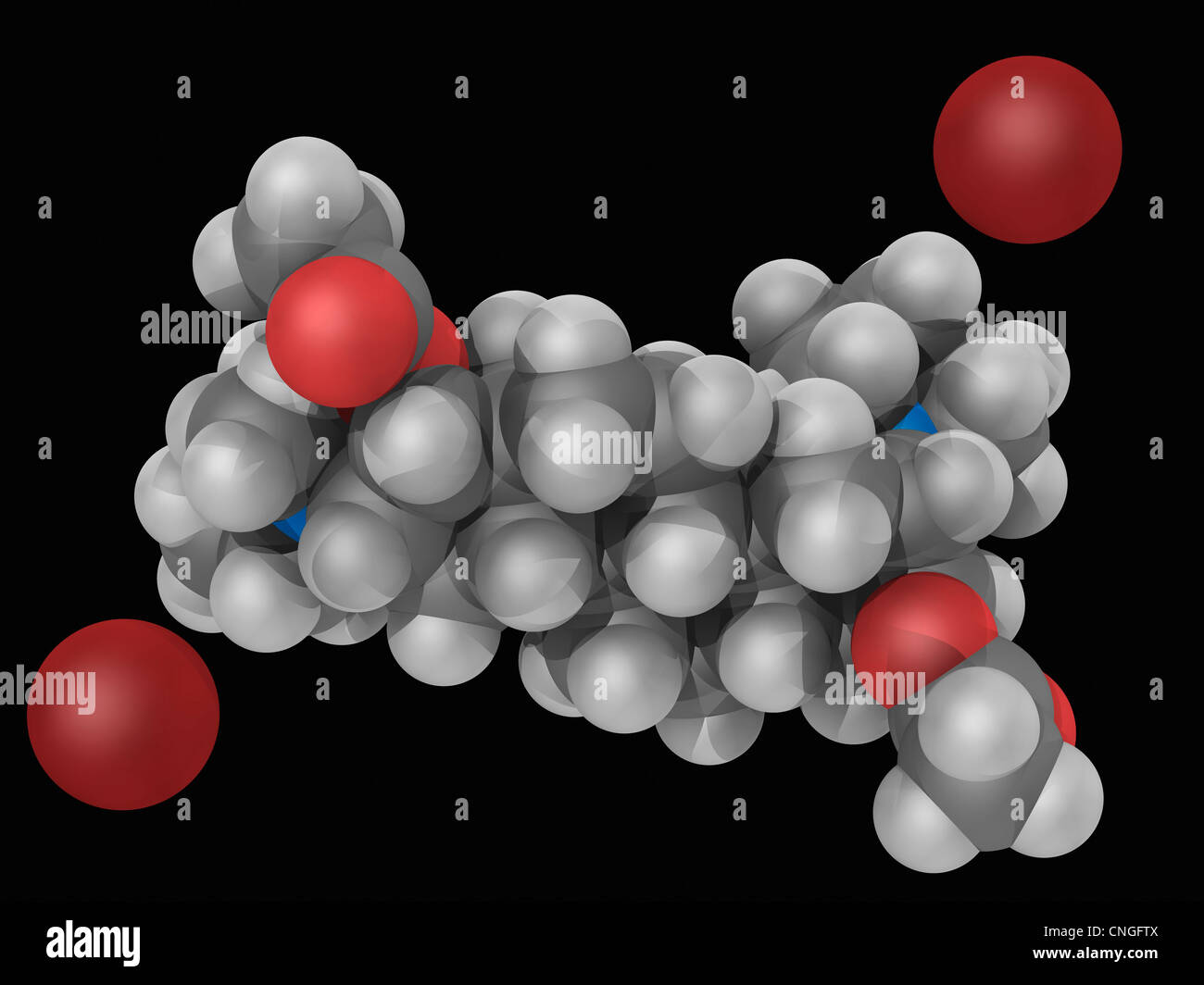 Pancuronium bromide drug molecule Stock Photo