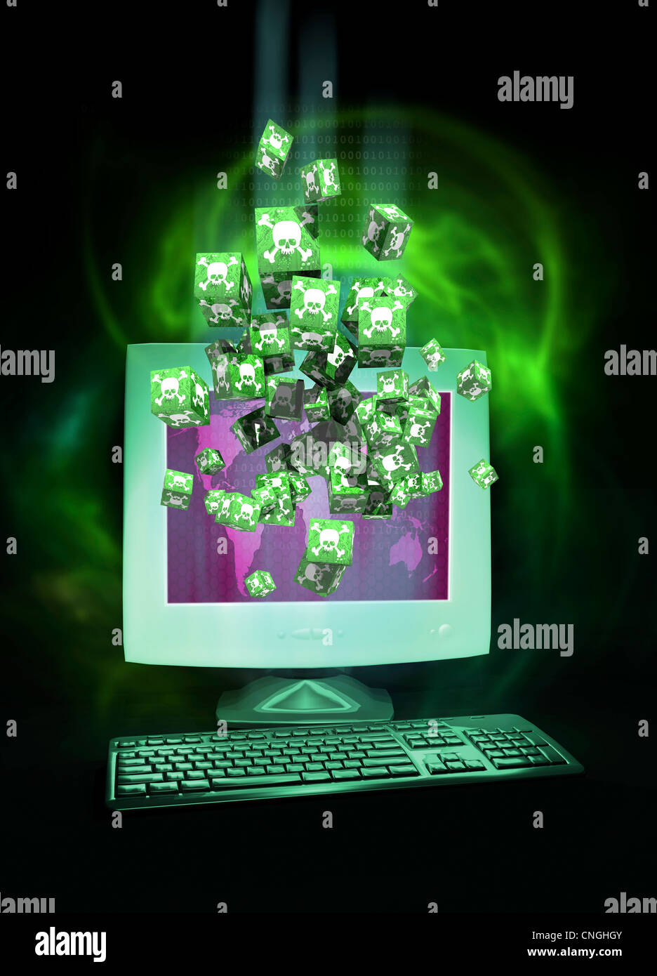 Digital piracy  conceptual artwork - Stock Image