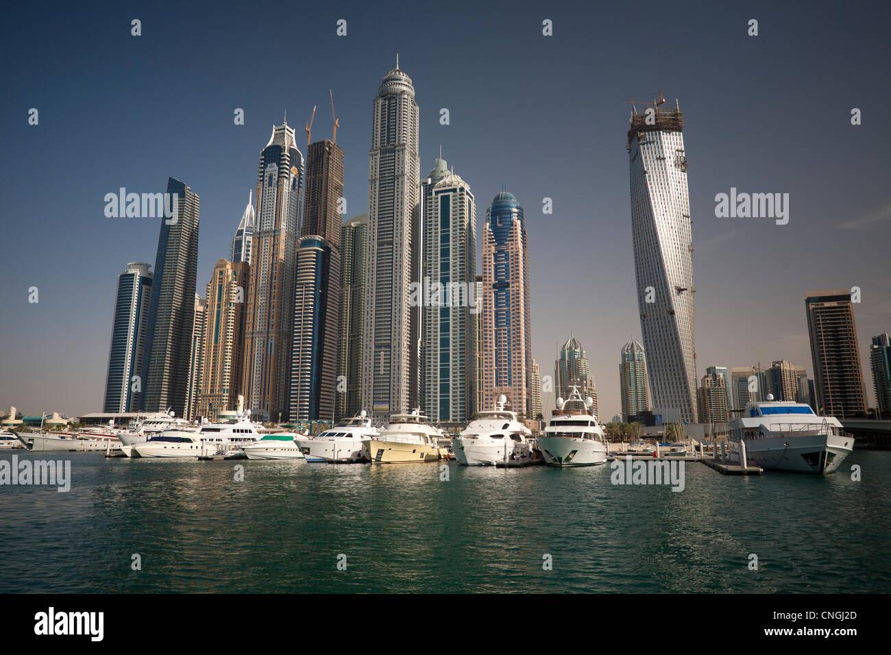 """The skyscrapers of the """"Dubai Marina"""" area (Dubai - the United Arab Emirates UAE). Harbor. Stock Photo"""
