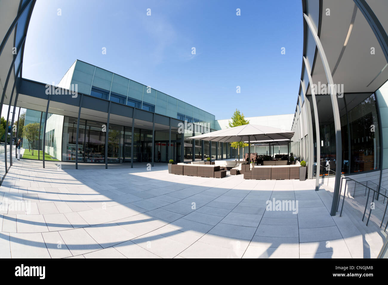 Entrance area of Museum Folkwang, Essen. Fisheye view. - Stock Image