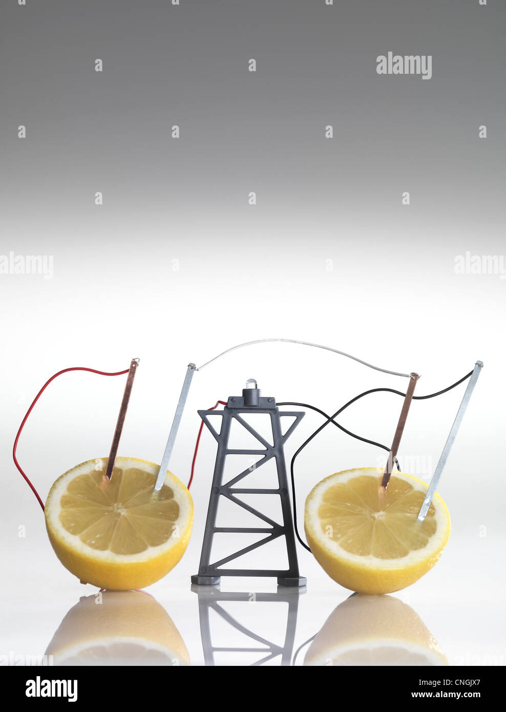 Electrical circuit with lemons - Stock Image