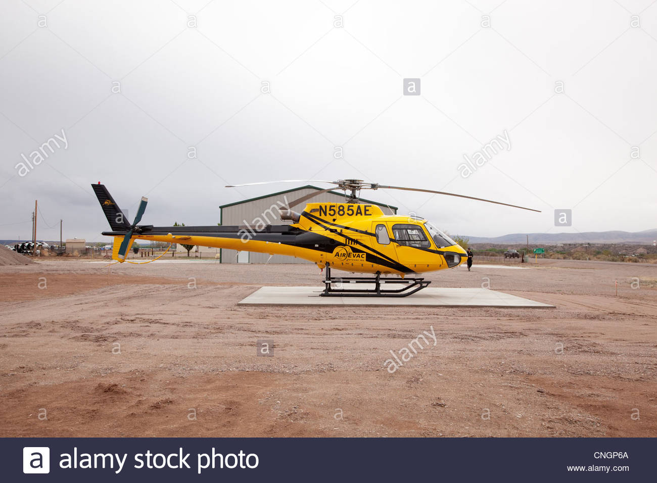 Air Evac Helicopter on ground one person visible Arizona - Stock Image