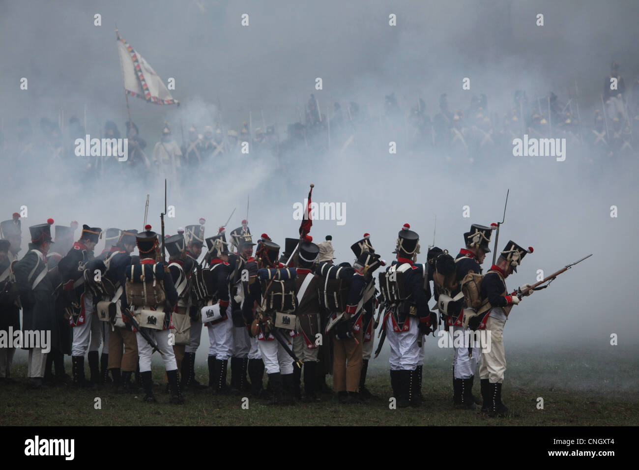 Re-enactment of the Battle of Austerlitz (1805) at Santon Hill near the village of Tvarozna, Czech Republic. - Stock Image