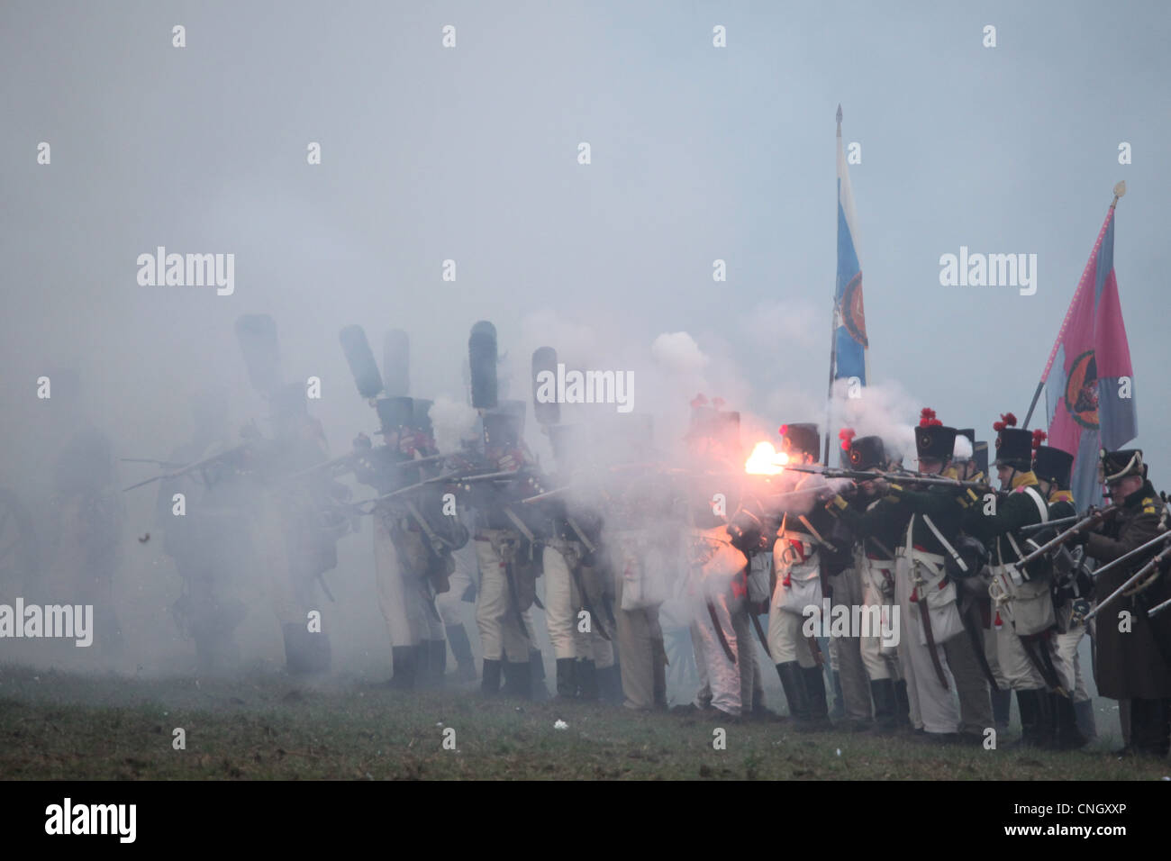Russian troops. Re-enactment of the Battle of Austerlitz (1805) at Santon Hill near the village of Tvarozna, Czech - Stock Image