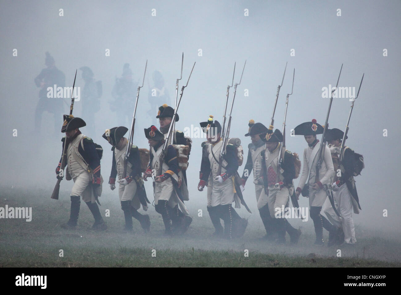 French troops. Re-enactment of the Battle of Austerlitz (1805) at Santon Hill near the village of Tvarozna, Czech - Stock Image