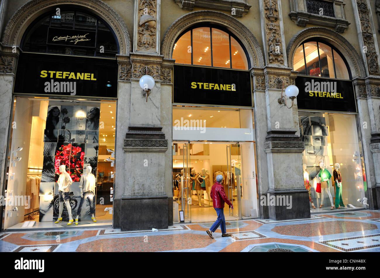Stefanel shop. Galleria Vittorio Emanuele II. Milano Italy - Stock Image