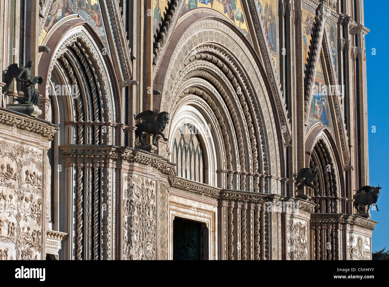 Orvieto Cathedral. Detail of facade. Orvieto. Terni Province. Umbria. Italy - Stock Image