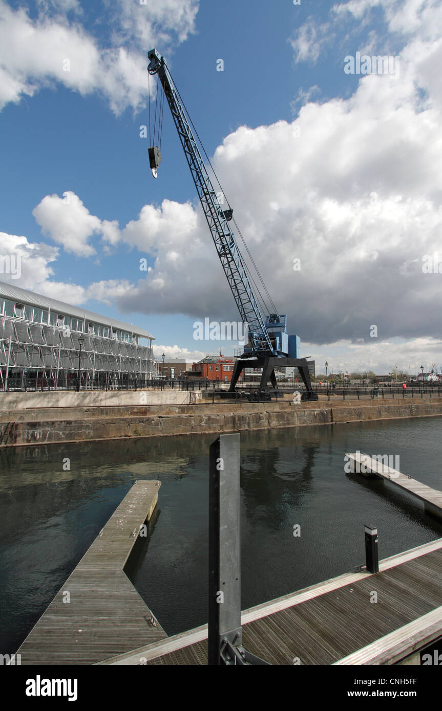 Cardiff Docks - mobile Crane revitalised dockland now supporting new business - Stock Image
