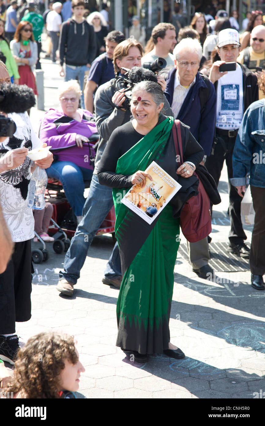 Vandana Siva, Indian environmental activist, speaks to Occupy Wall Street gathering at Union Square in NYC. - Stock Image
