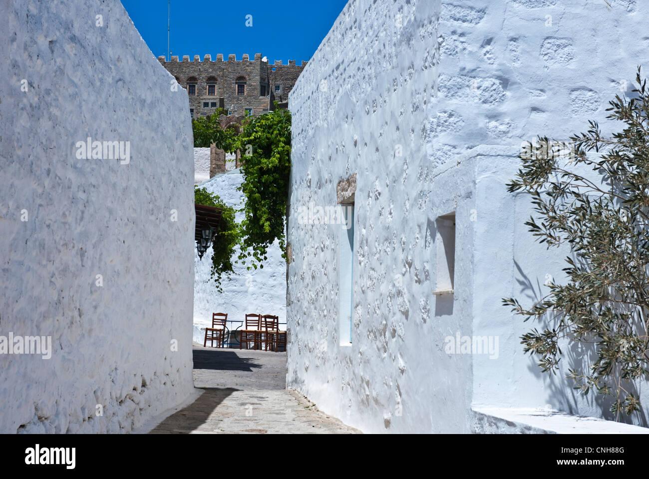 Europe Greece, Dodecanese,Patmos, the Chora village - Stock Image