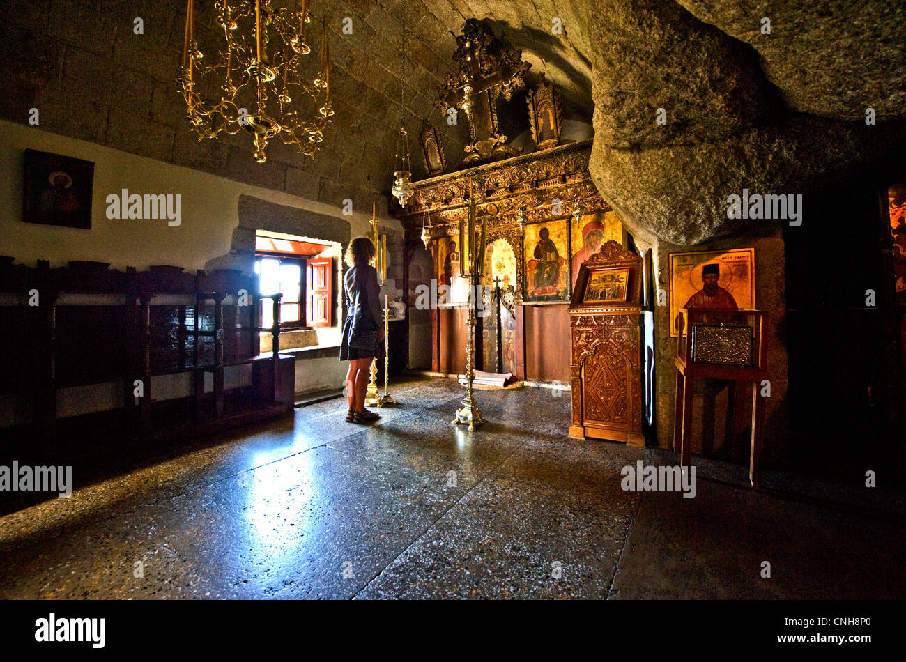 Europe Greece, Dodecanese,Patmos, the Monastry and Cave of the Apocalypsis Stock Photo