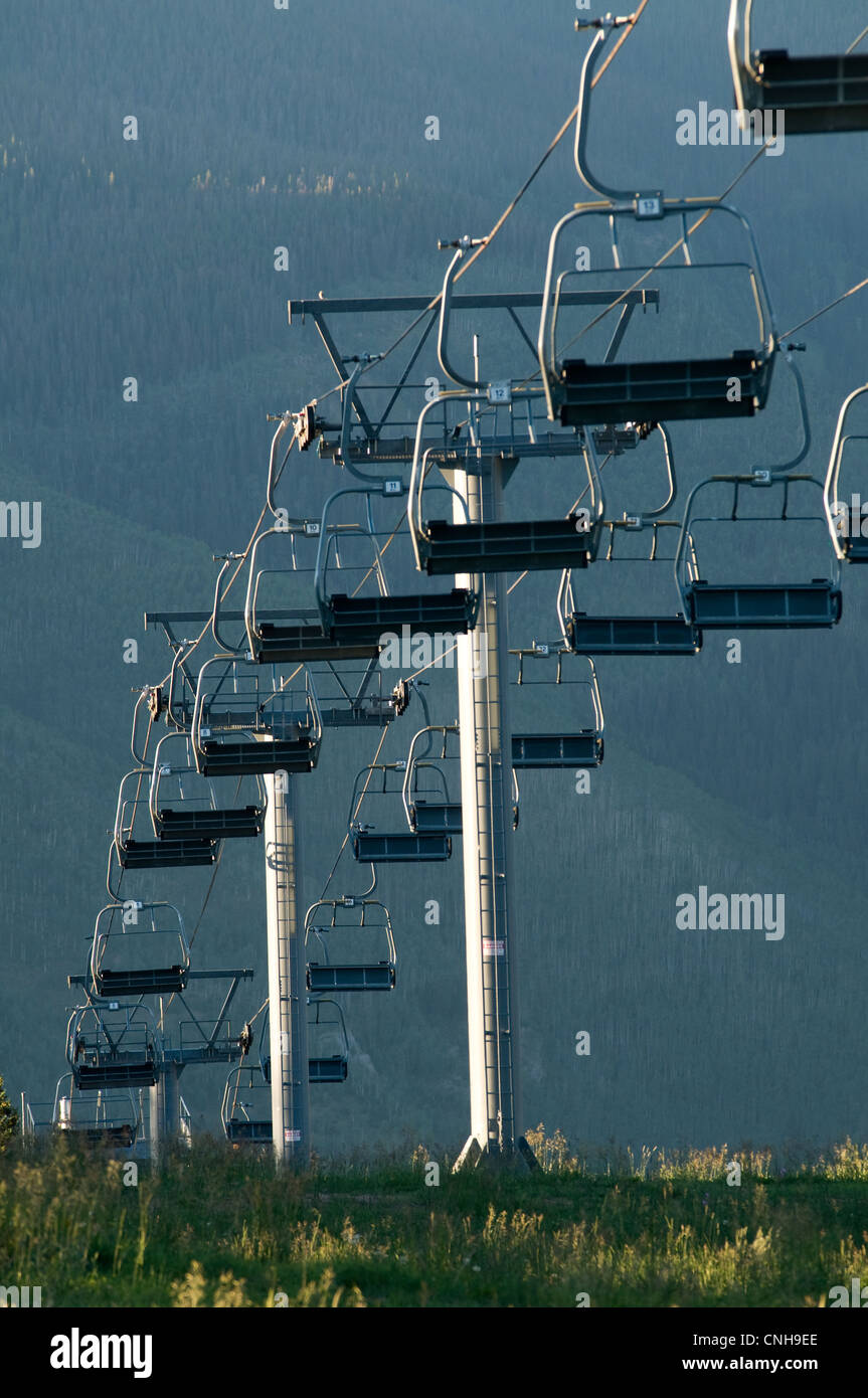 Chair lift on Vail Mountain, Vail Colorado, USA, summer time - Stock Image