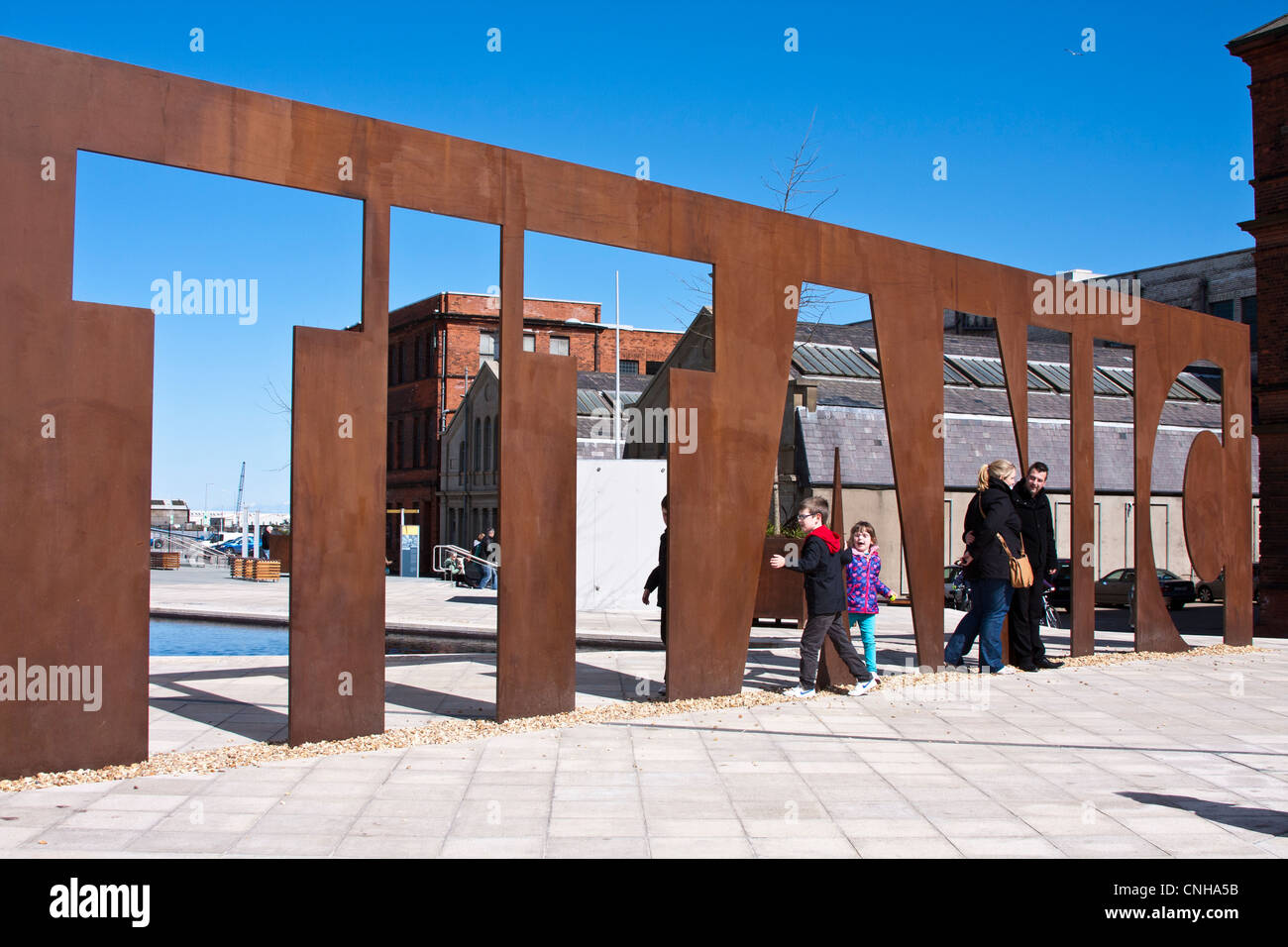 Metal sign outside the titanic museum Belfast - Stock Image