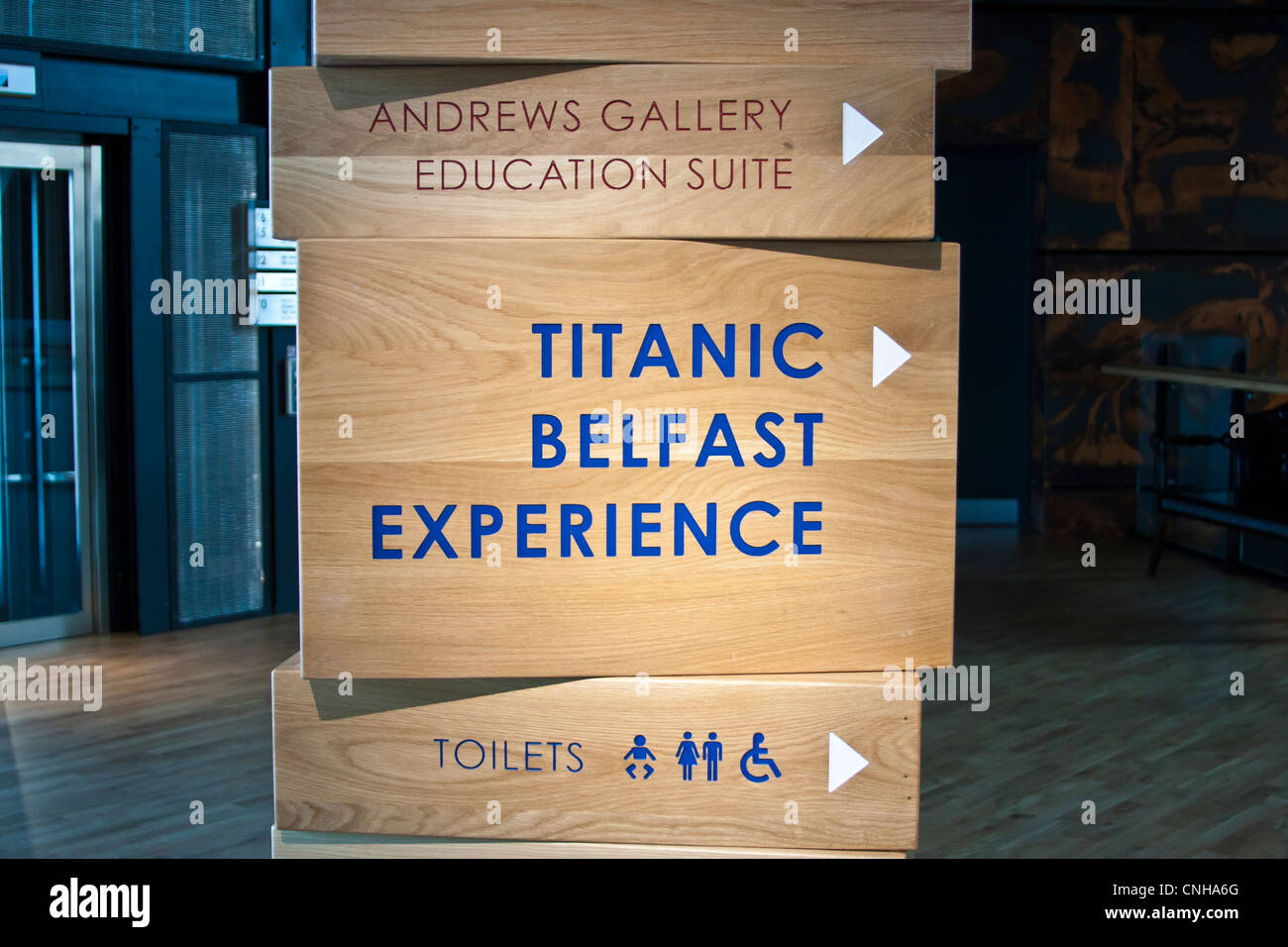 Sign in the Titanic Museum Belfast - Stock Image